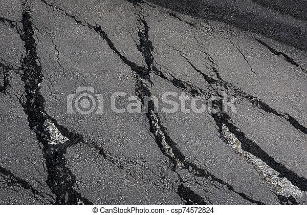 地すべり, 割れる, 路傍, -, 道, 倒れられる, 低下しなさい, アスファルト - csp74572824