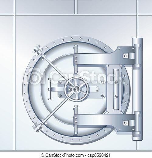 地下, ドア, イラスト, 銀行 - csp8530421