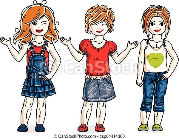 地位, かわいい, わずかしか, セット, 女の子, clothes., 美しい, 子供, ベクトル, 流行, 偶然, illustrations. - csp64414368