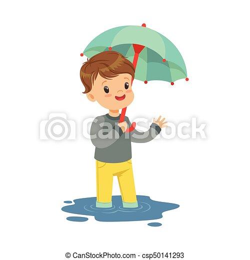 地位 かわいい わずかしか 傘 男の子 水たまり イラスト ベクトル