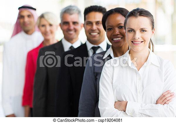 地位, グループ, ビジネス, 多人種である, チーム, 横列 - csp19204081