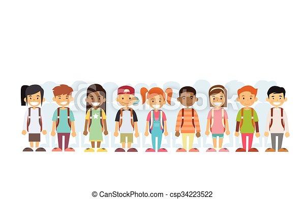地位, グループ, 混合, レース, 線, 子供 - csp34223522