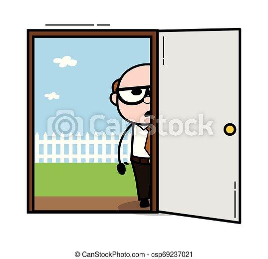 地位, ドア, -, 父, イラスト, 上司, 外, ベクトル, レトロ, 古い, 漫画 - csp69237021