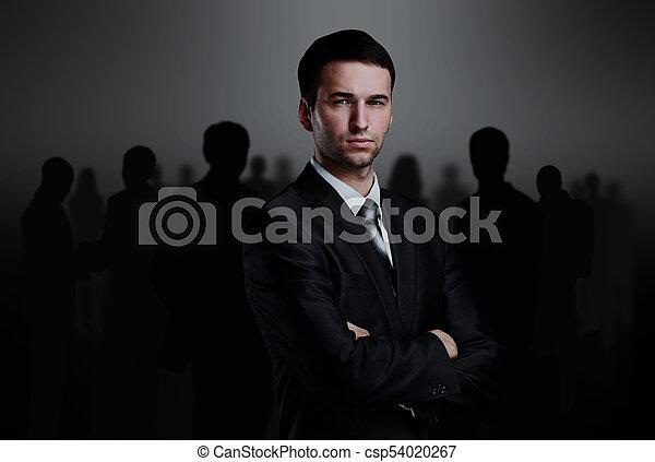 地位, ビジネス, 上に, 暗い背景, チーム - csp54020267