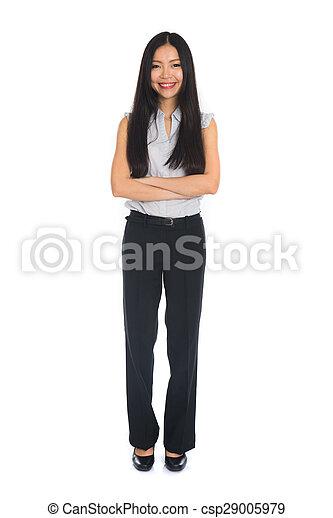地位, レース, 女, 中国語, ビジネス, 隔離された, バックグラウンド。, suit., フルである, モード, 女性, 混ぜられた, 長さ, 白, 美しい - csp29005979