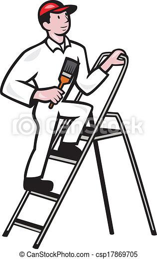 地位, 家, はしご, 漫画, 画家 - csp17869705
