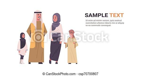 地位, 平ら, フルである, 家族, スペース, 幸せ, 一緒に, 子供, 伝統的である, 長さ, 親, アラビア人, 横, コピー, アラビア, 衣服 - csp70700807