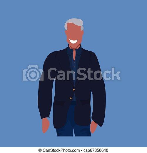 地位, 平ら, 衣服, ポーズを取りなさい, 特徴, 偶然, 青, アメリカ人, 背景, アフリカの男, 肖像画, 人, マレ, 漫画, 幸せ - csp67858648