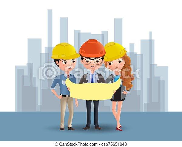 地位, 特徴, ベクトル, エンジニア, concept., blueprint., ビジネス, 建築現場, 計画, 建築家, 特徴, 保有物, 工学 - csp75651043
