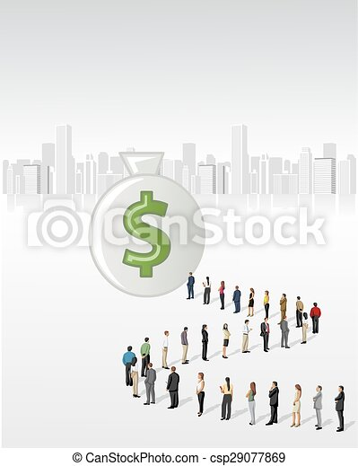 地位, 線, ビジネス 人々 - csp29077869