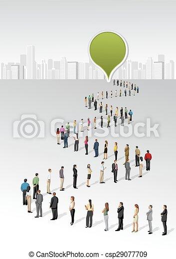 地位, 線, ビジネス 人々 - csp29077709