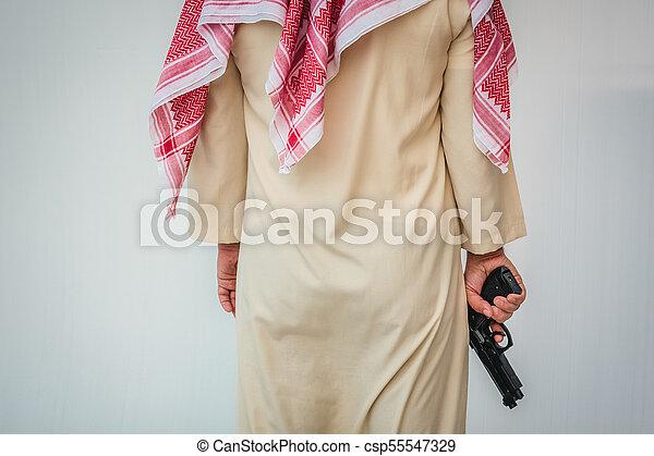 地位, 銃, 手, アラビア人, 保有物, 人 - csp55547329