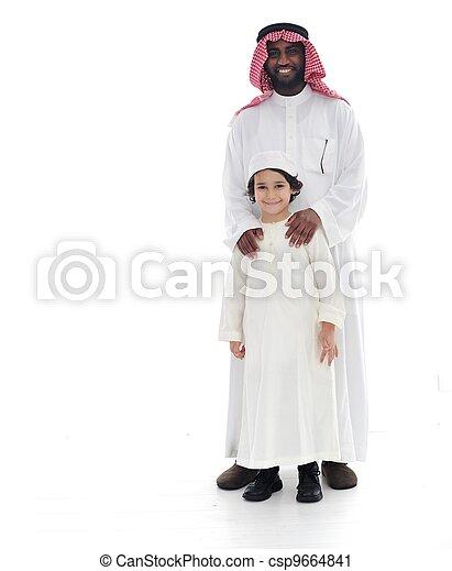 地位, muslim, 父, 一緒に, 息子, アラビア - csp9664841