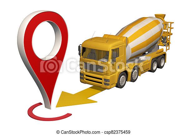 地図ピン, 行く, ミキサー, トラック, コンクリート - csp82375459