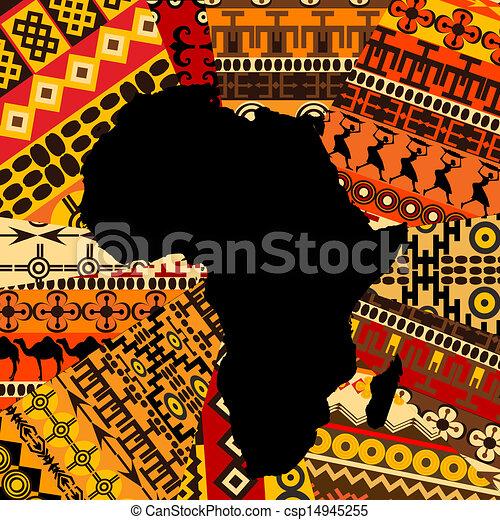 地図, アフリカ, 背景, 民族 - csp14945255