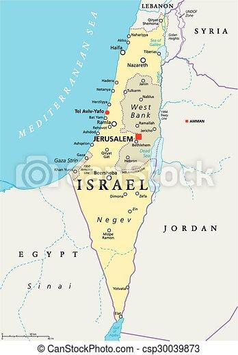 地図, イスラエル, 政治的である - csp30039873