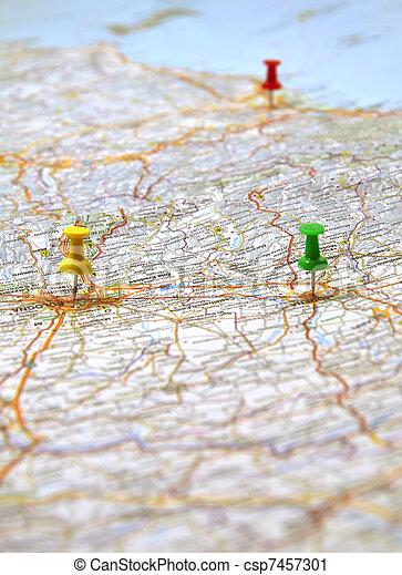 地図, イタリア, 黄色, ポイント, 緑の赤 - csp7457301