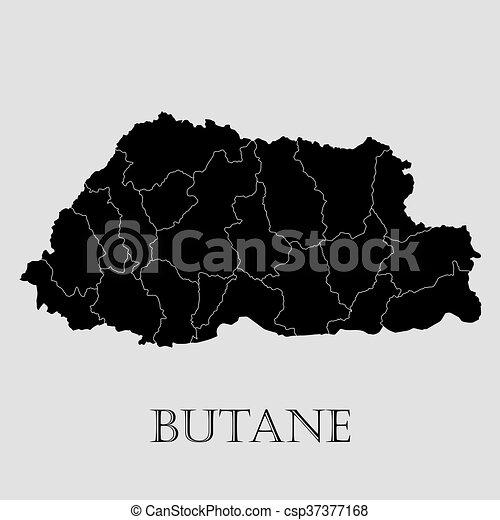 地図, -, イラスト, ベクトル, 黒, ブタン - csp37377168