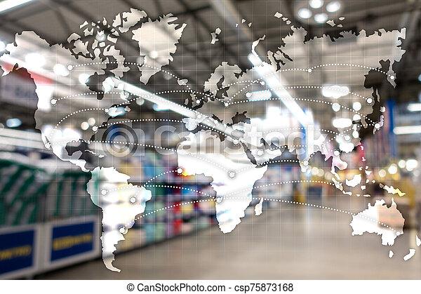 地図, エクスポート, 世界的である, partnership., concept., 輸入, ロジスティクス - csp75873168