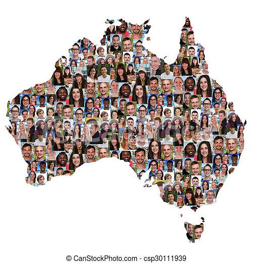 地図, オーストラリア, グループ, 人々, multicultural, 若い, 統合, 多様性 - csp30111939