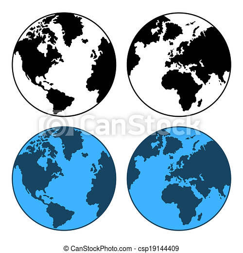 地図, セット, 隔離された, ベクトル, white., 地球 - csp19144409