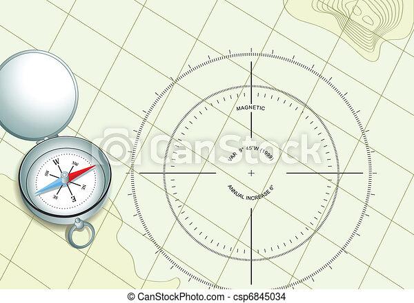 地図, ナビゲーション, コンパス - csp6845034