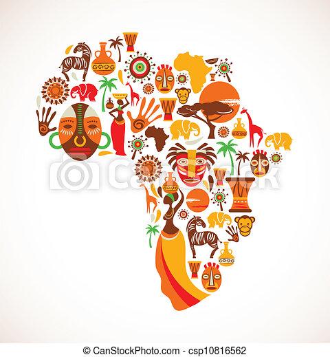 地図, ベクトル, アフリカ, アイコン - csp10816562