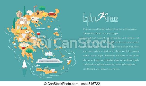 地図, ベクトル, テンプレート, イラスト, ギリシャ - csp45467221