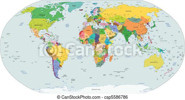 地図, 世界的である, 政治的である, 世界 - csp5586786