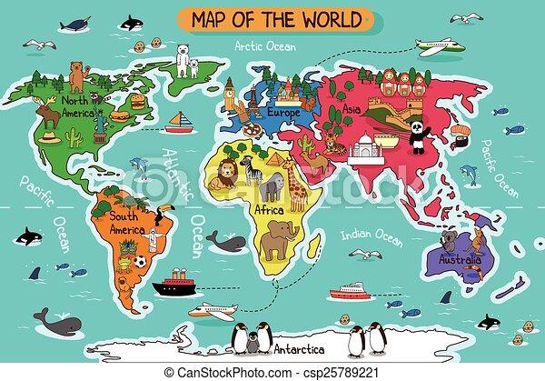 地図, 世界 - csp25789221