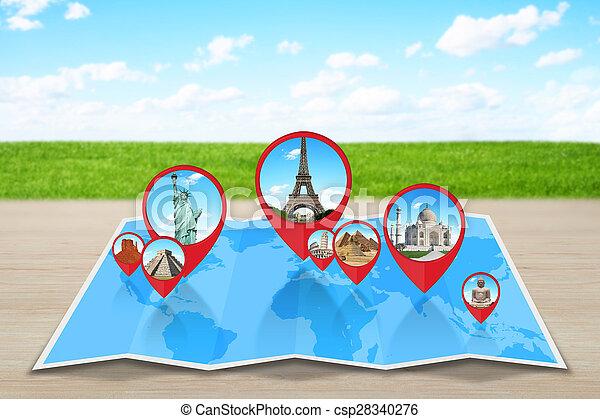地図, 世界, 記念碑 - csp28340276