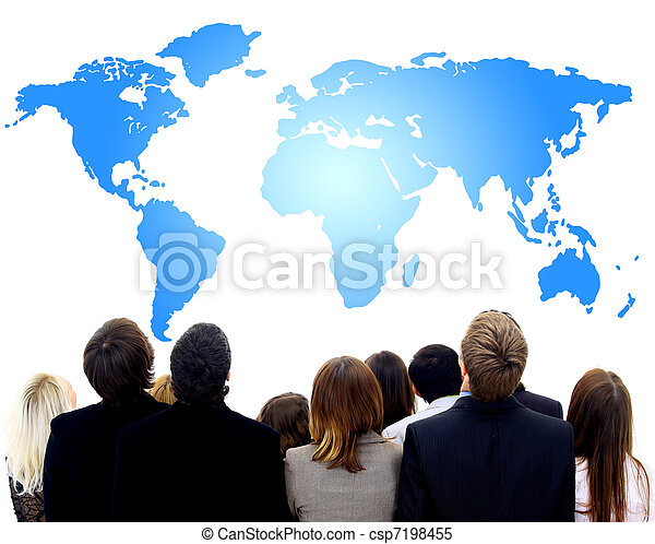 地図, 人々, 多数, 見る, クローズアップ, 肖像画, 女性 - csp7198455