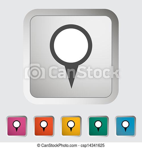 地図, 単一, icon., ピン - csp14341625