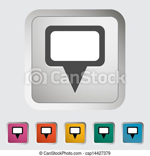 地図, 単一, icon., ピン - csp14427379
