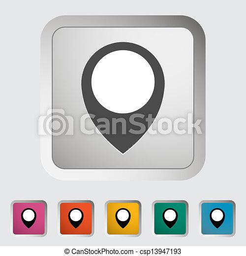 地図, 単一, icon., ピン - csp13947193