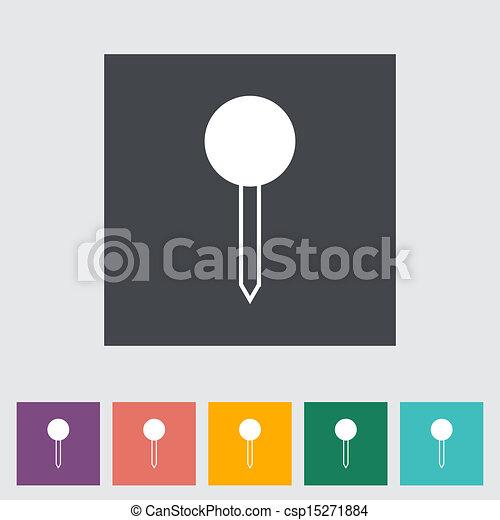地図, 単一, icon., ピン - csp15271884