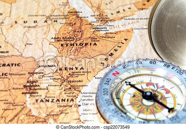 地図, 古代, 型, 旅行ディスティネーション, エチオピア, ソマリア, コンパス, kenya - csp22073549
