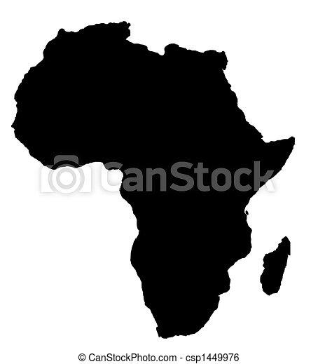 地図, 大陸, アフリカ, アウトライン, 黒 - csp1449976