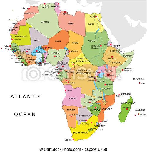 地図, 政治的である, アフリカ - csp2916758