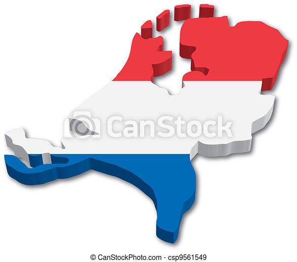 地図, 旗, オランダ, 3d - csp9561549