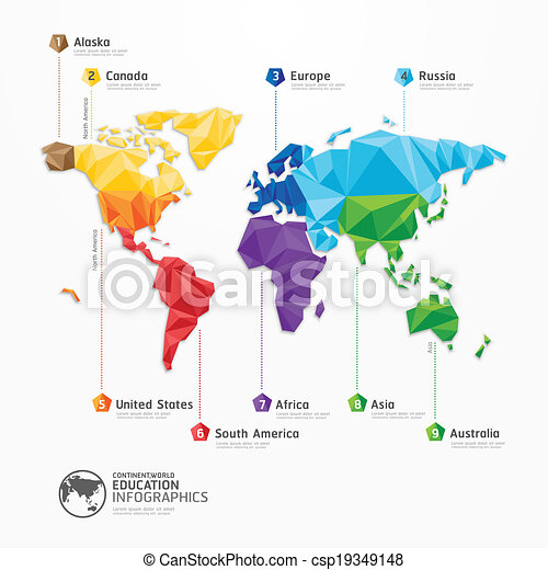 地図, 概念, イラスト, ベクトル, デザイン, infographics, 世界, 幾何学的, template. - csp19349148