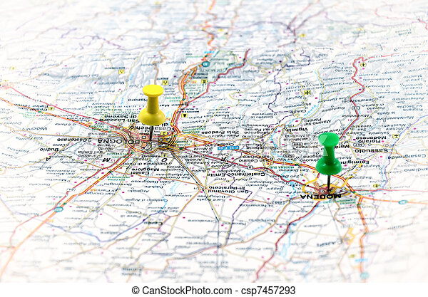 地図, 白, ポイント, イタリア, 緑 - csp7457293