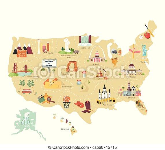 地図, 観光客, アメリカ, ランドマーク, 有名, ベクトル - csp60745715