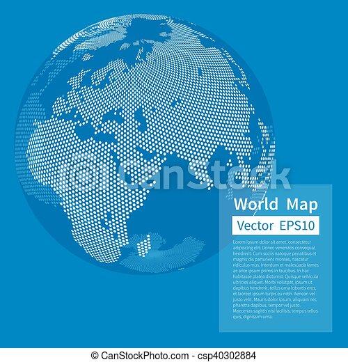 地図, globe., 点を打たれた, blue., concept., バックグラウンド。, globalization, ベクトル, 世界, 地球, 白 - csp40302884