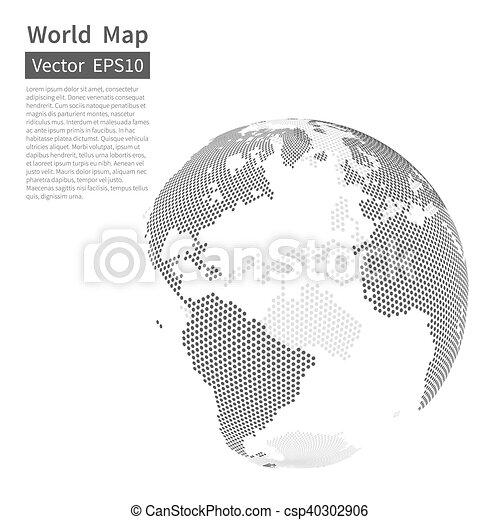 地図, globe., 点を打たれた, concept., バックグラウンド。, globalization, ベクトル, 黒, white., 世界, 地球 - csp40302906