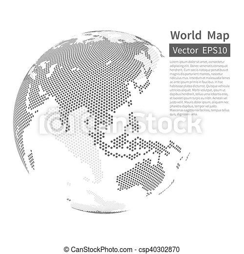 地図, globe., 点を打たれた, concept., バックグラウンド。, globalization, ベクトル, 黒, white., 世界, 地球 - csp40302870