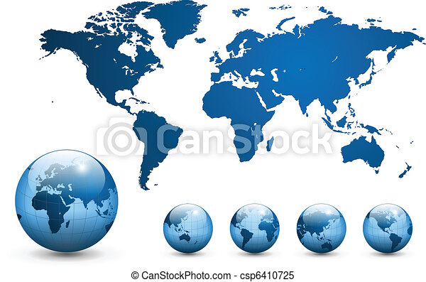 地図, vector., 世界 - csp6410725