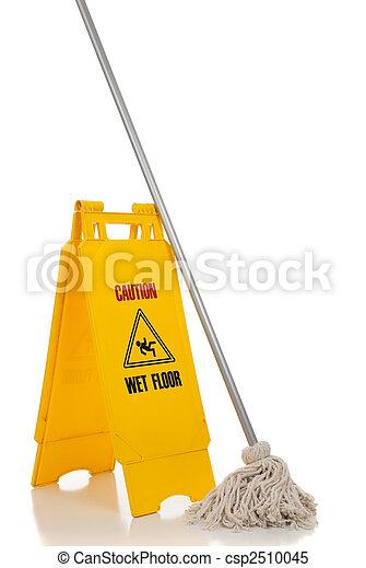 地板, 扫荡, 签署, 背景, 潮湿, 白色 - csp2510045