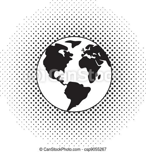 地球の 地球, ベクトル, 黒, 白 - csp9055267