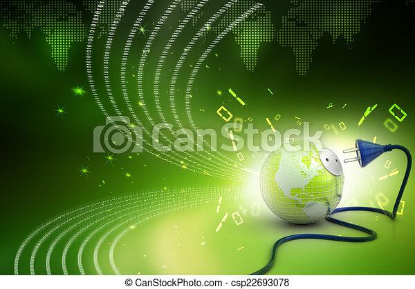地球の 地球, 送電線 - csp22693078